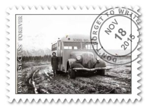 """Palmer. Girl and School Bus on Rural Road."" ca. 1939 to 1959. Alaska Dept. of Education. ASL-MS146-10-86B-4"