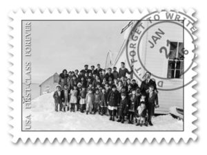 "Fhoki Kayamori ""Children, of Various Ages, Standing for Group Portrait Outside of School House, in Winter."" (Yakutat) ASL-PCA-55"